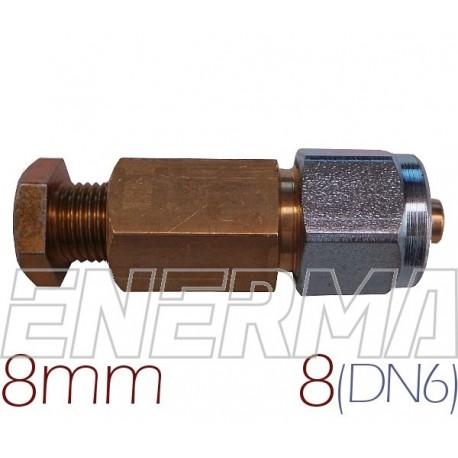 Złączka  MIEDŹ 8mm - RURA PCV 8mm (DN6)