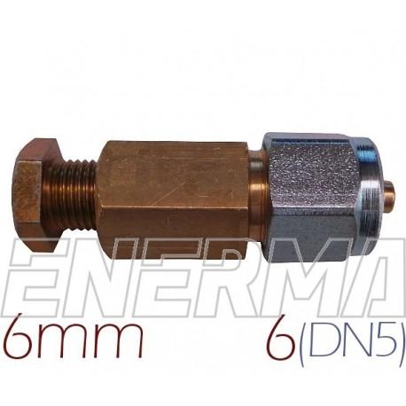 Złączka  MIEDŹ 6mm - RURA PCV 6mm (DN5)