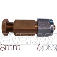 Złączka  MIEDŹ 8mm - RURA PCV 6mm (DN5)