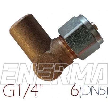 Złączka kątowa do rury PCV Ø6 / G1/4 / 90º