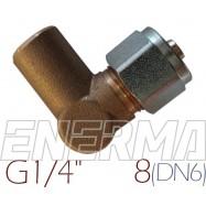 Złączka kątowa do rury PCV Ø8 / G1/4 / 90º